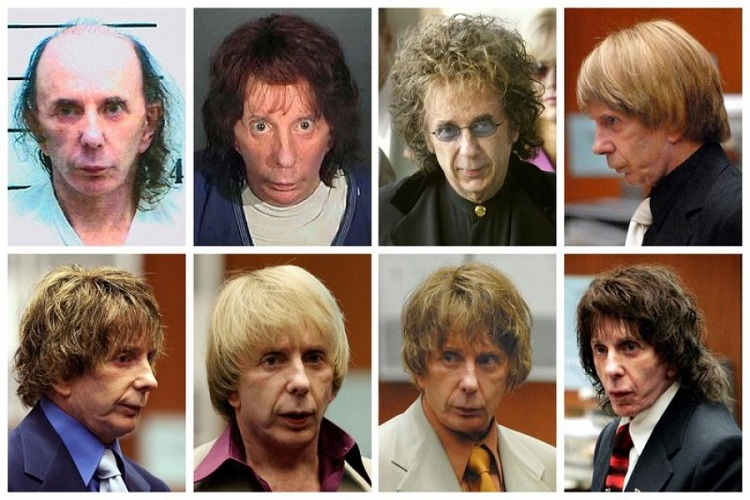 Music producer Phil Spector is pictured wearing a variety of wigs during his murder trial in this combination image made from file photos. Spector, 69, was sentenced to at least 19 years in prison for the 2003 murder of a Hollywood actress and could spend the rest of his life behind bars. Photo: Reuters