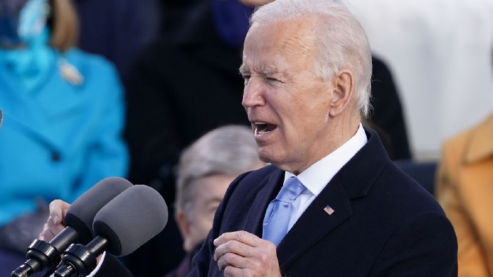 Mr Biden delivered his inaugural address facing the National Mall