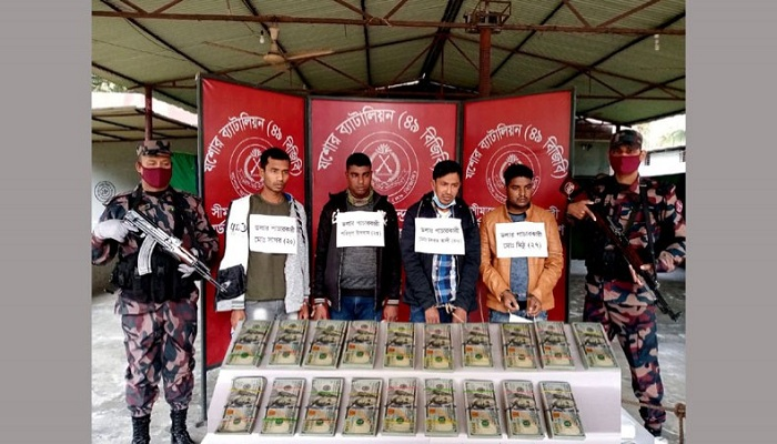 The Border Guard Bangladesh (BGB) arrests four suspected money launderers along with US $1,90,000 at Hamidpur on the outskirts of Jashore town early Friday afternoon.