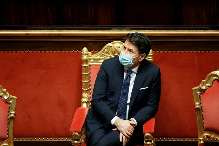 Italian Prime Minister Giuseppe Conte attends a debate before a confidence vote in the upper house of parliament after former Prime Minister Matteo Renzi pulled his party out of government, in Rome, Italy, January 19, 2021. Photo: Reuters