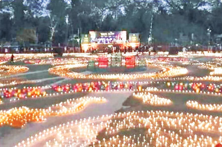 One lakh candles lighted in Narail on Sunday evening to mark the Shaheed Dibash and International Mother Language Day.	photo: observer