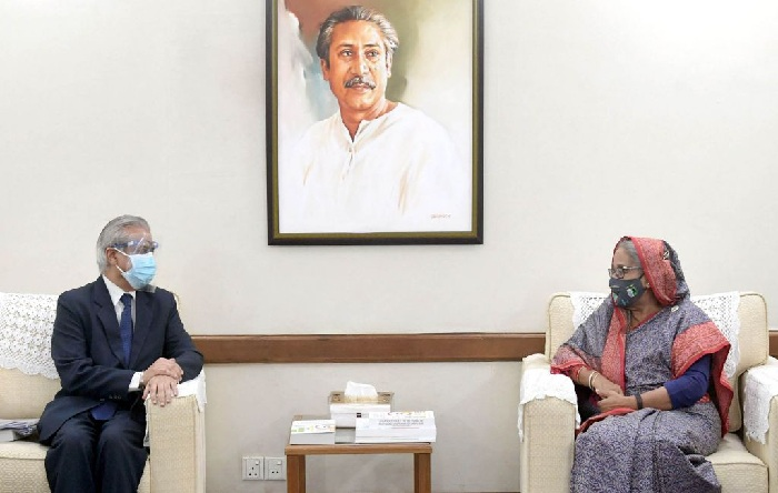ADB Country Director for Bangladesh Manmohan Parkash pays a courtesy call on Prime Minister Sheikh Hasina at her official residence in Dhaka on Tuesday, February 23, 2021.