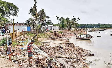 The photo shows erosion by the Meghna River in Ramgati Upazila of Laxmipur.photo: observer
