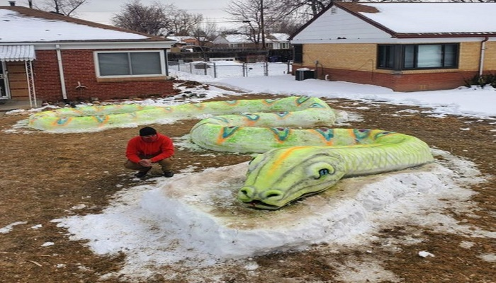 The Mosley family worked together for 10 hours to create the snake sculpture