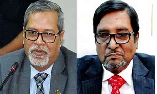 CEC KM Nurul Huda (left) and election commissioner Mahbub Talukder (right)