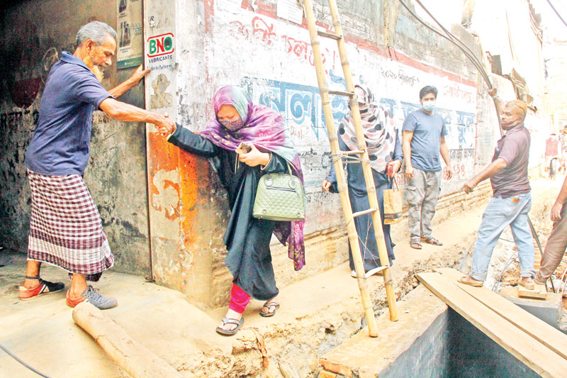 Some roads and footpaths at Mogbazar in the capital remained dugged for several months