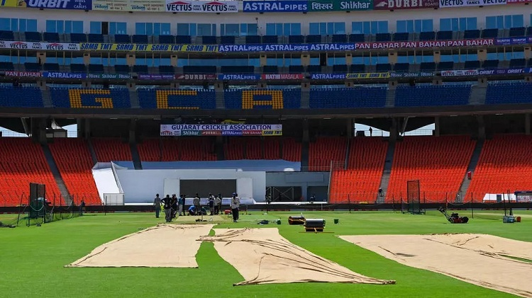 The pitch at the Narendra Modi Stadium has been the subject of fierce debate. Photo: AFP