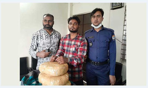 One held with hemp in Airport Rail Station