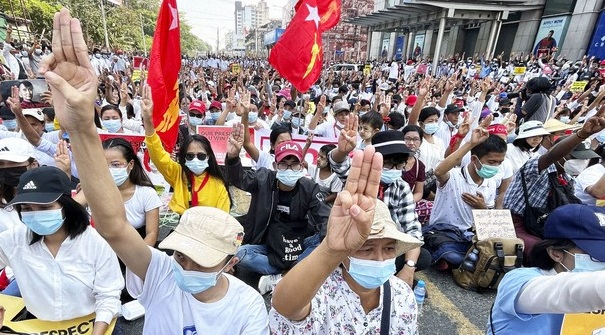 People stage a rally in Yangon, Myanmar, on Feb. 22, 2021, in protest against the Feb. 1 military coup. (Kyodo)