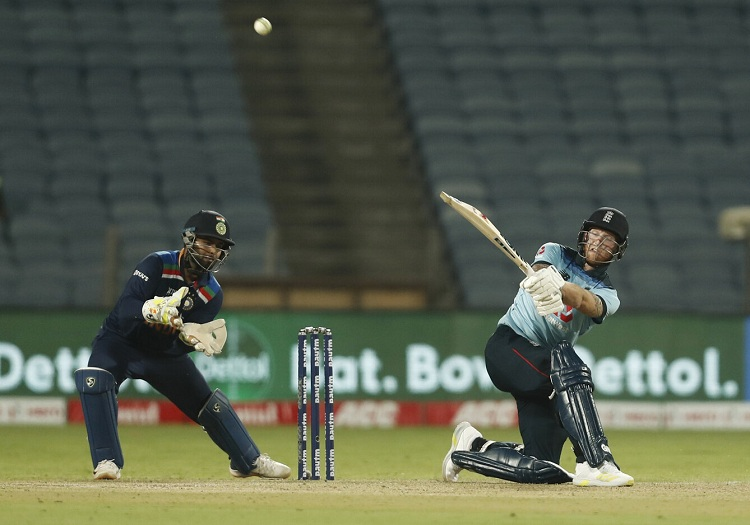 England's Ben Stokes plays a shot during their second ODI against India in Pune Friday. Photo: Reuters