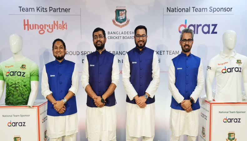 (From L-R): Daraz's head of marketing Abrar Hasnain, managing director Syed Mostahidal Hoq, chief operating officer Khondoker Tasfin Alam and chief commercial officer Fuad Arefin pose for a photograph after the country's leading e-commerce platform became the team sponsor for the Bangladesh cricket team till 2023 on Wednesday.