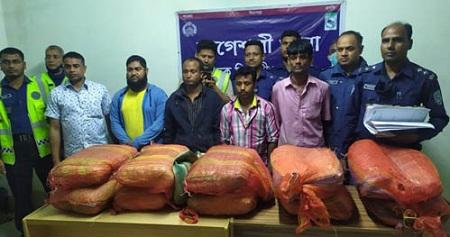 3 held with 68 kgs hemp in Kurigram
