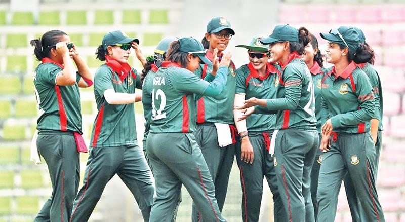 Bangladesh Emerging Women's Cricket team celebrating after winning the third match of the five-match unofficial WODI series against South African Emerging Women's Cricket team at Sylhet International Cricket Stadium, Sylhet on Thursday.  photo: BCB