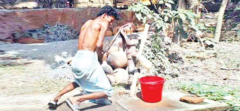 The photo shows a man trying to collect water from a tube-well in Rajshahi.