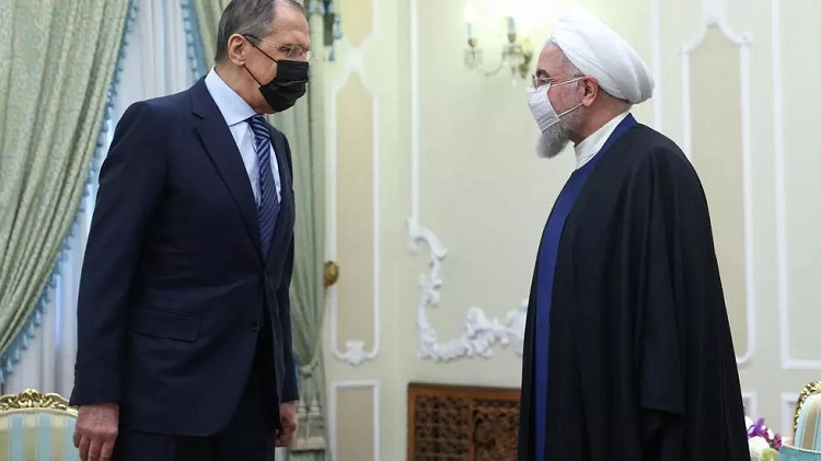 Russian Foreign Minister Sergei Lavrov is received by Iranian President Hassan Rouhani as he puts on a united front with his hosts on bringing the United States back into a troubled 2015 nuclear deal. Photo: AFP