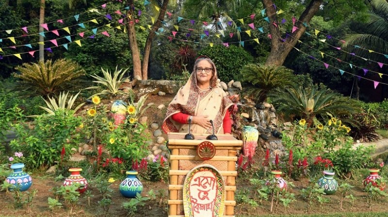 Prime Minister Sheikh Hasina addressing the nation on Tuesday evening on the eve of the Bengali New Year 1428. Photo: PID