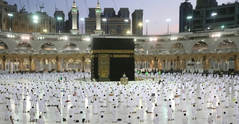 Socially-distanced worshippers in the Grand mosque complex in the Saudi city of Mecca on Tuesday.