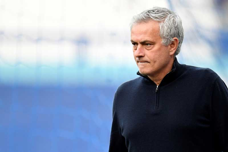 (FILES) In this file photo taken on April 16, 2021 Tottenham Hotspur's Portuguese head coach Jose Mourinho reacts ahead of the English Premier League football match between Everton and Tottenham Hotspur at Goodison Park in Liverpool, north west England. photo: AFP