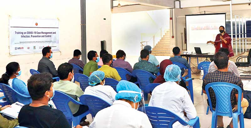 A trainer addressing trainees at DNCC Hospital, Mohakhali recently.