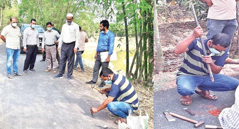 LGED officials inspecting development work of an under-construction