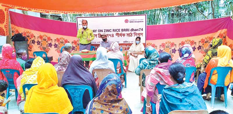 The photo shows an agri-expert speaking on the harvest of zinc-enriched BRRI Dhan-74 in Chhoto Doulotpur Village of Sadullapur Upazila on Tuesday.photo: observer