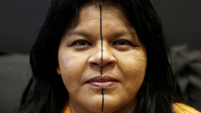 Indigenous leader Sonia Guajajara of the Guajajara tribe is seen during an interview with Reuters during her European tour in Paris, France, November 11, 2019. File Photo: Reuters