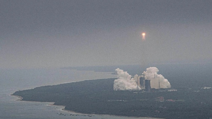 China's biggest rocket Long March 5B during its lift off. The remnants of the rocket have now landed in the Indian Ocean (AP photo)
