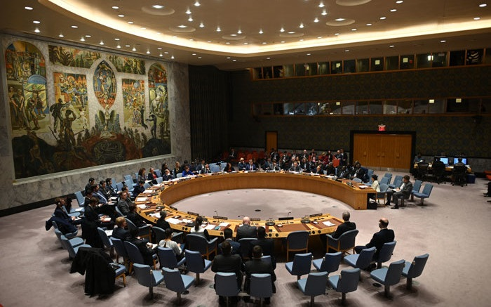 A meeting of the UN Security Council meeting at United Nations headquarters in New York on 26 February 2020. File photo: AFP