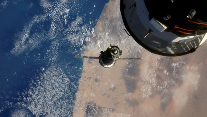 The Soyuz MS-17 spacecraft is seen before docking to Rassvet module of the International Space Station (ISS), October 14, 2020, in this picture taken by Russian cosmonaut Ivan Vagner from the International Space Station (ISS).Photo: Reuters