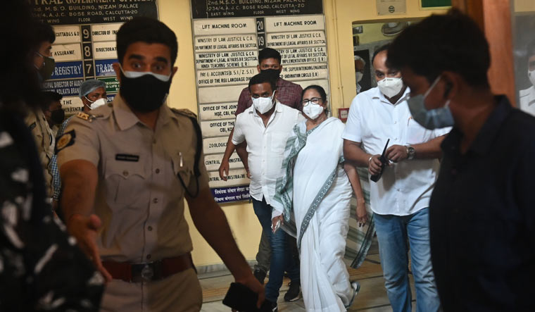 Chief Minister Mamata Banerjee coming out of Nizam Palace which houses the CBI offices in Kolkata