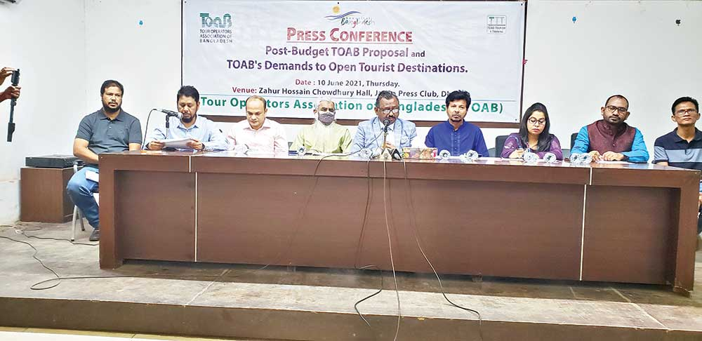 Leaders of Tour Operator Association of Bangladesh holding a press conference at the Jatiya Press Club, in Dhaka on Thursday.