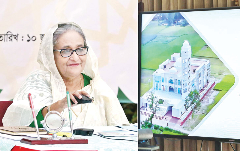 Prime Minister Sheikh Hasina virtually inaugurated the first 50 completed Model Mosques and Islamic Cultural Centres to mark Mujib Barsho on Thursday. The 50 mosques are among 560 others being built across the country. PHOTO: PID