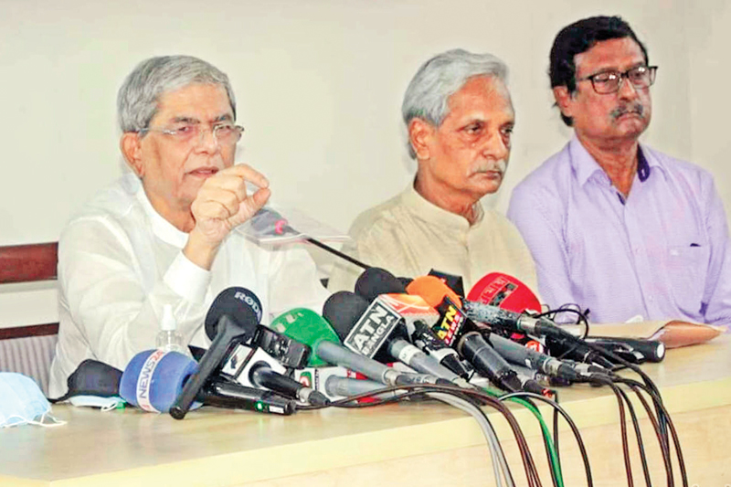 BNP Secretary General Mirza Fakhrul Islam Alamgir addressing a press conference