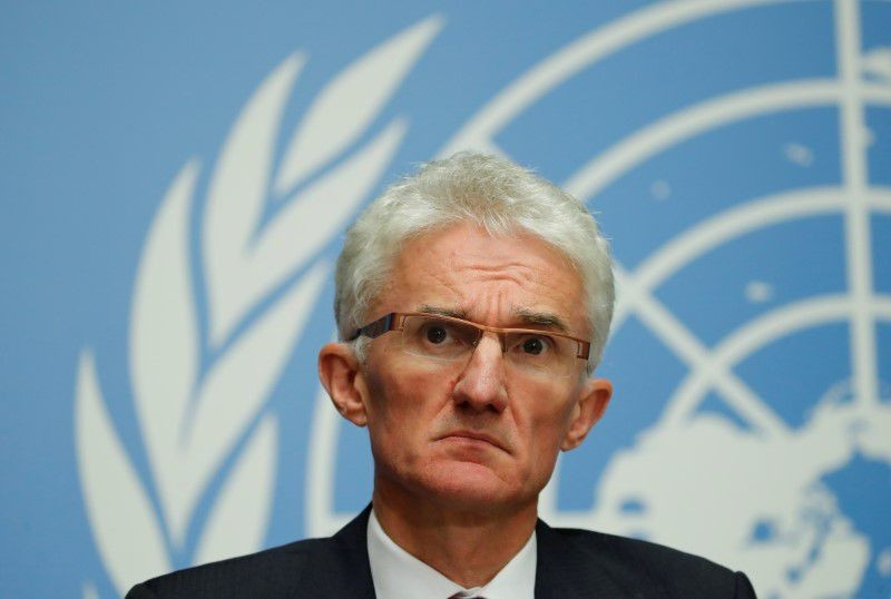 UN humanitarian coordinator Mark Lowcock attends a news conference following a joint mission to Afghanistan and Pakistan at the United Nations in Geneva, Switzerland, September 10, 2018. File photo: Reuters
