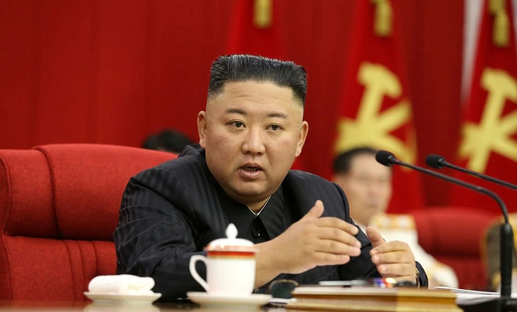 North Korean leader Kim Jong Un speaks during the third-day sitting of the 3rd Plenary Meeting of 8th Central Committee of the Workers' Party of Korea in Pyongyang, North Korea in this image released June 17, 2021 by the country's Korean Central News Agency. KCNA via REUTERS