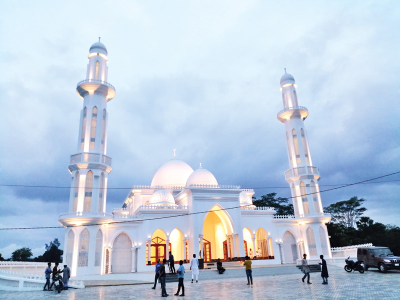 A mosque with unique design attracts visitors at Shibchar