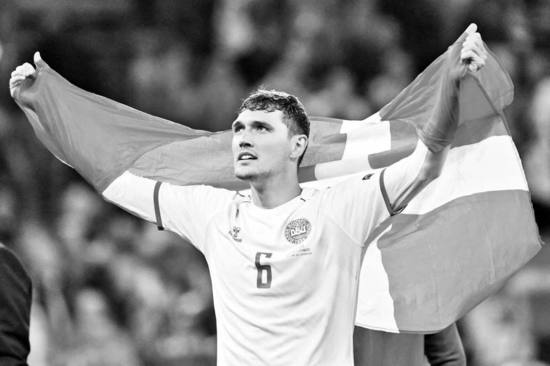 Denmark's defender Andreas Christensen celebrates at the end of the UEFA EURO 2020 Group B football match between Russia and Denmark at Parken Stadium in Copenhagen on June 21, 2021.photo: AFP