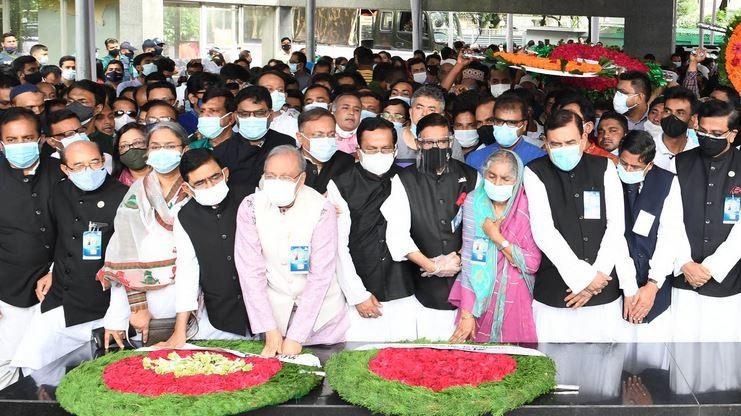 Awami League leaders paid tributes to the portrait of Bangabandhu Sheikh Mujibur Rahman in front of Bangabandhu Bhaban at Dhanmondi in Dhaka on Wednesday marking the 72nd founding anniversary of the party.