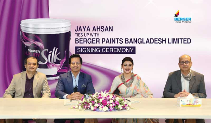 Model and actress Jaya Ahsan along with Senior Officials of Berger Paints and Unitrend Limited, attends an event to announce her joining Berger as a product ambassador for the next two years.