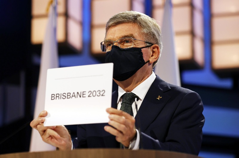 President of the International Olympic Committee Thomas Bach announces Brisbane as the 2032 Summer Olympics host city during the 138th IOC Session in Tokyo, Japan, July 21, 2021. (AP Photo)