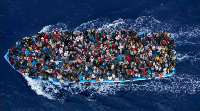 A boat carrying migrants in the Mediterranean. Reuters file photo