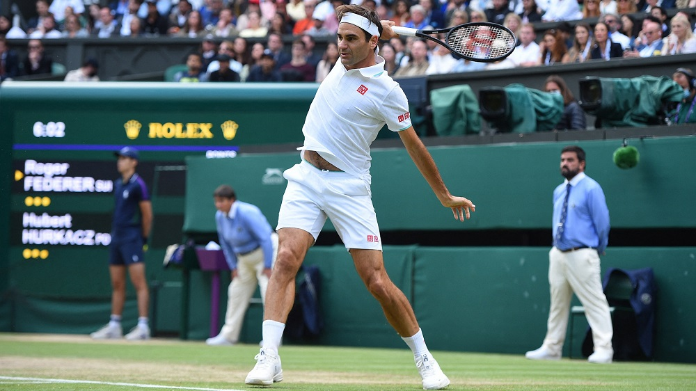 Roger Federer during his quarter-final round match at the 2021 Wimbledon Championships at the AELTC in London, England, July 7, 2021. /CFP