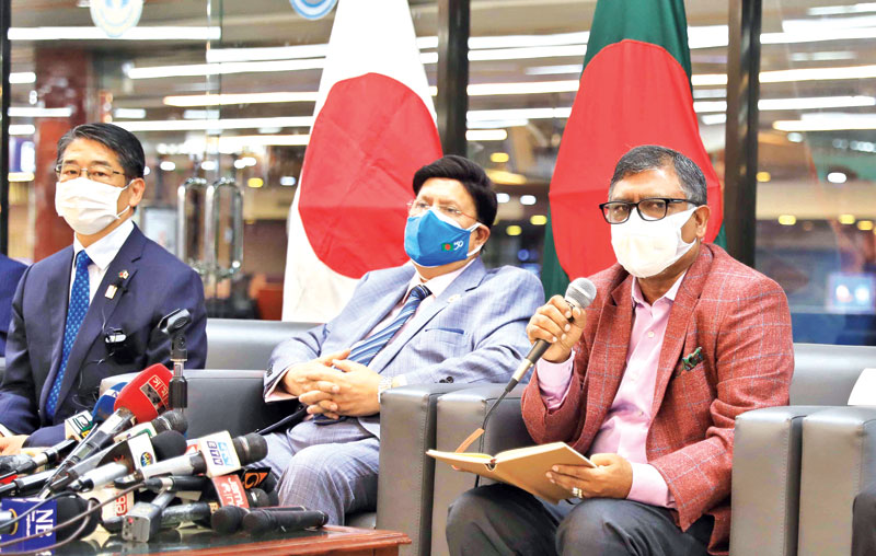 Health Minister Zahid Maleque speaks at a press conferenc