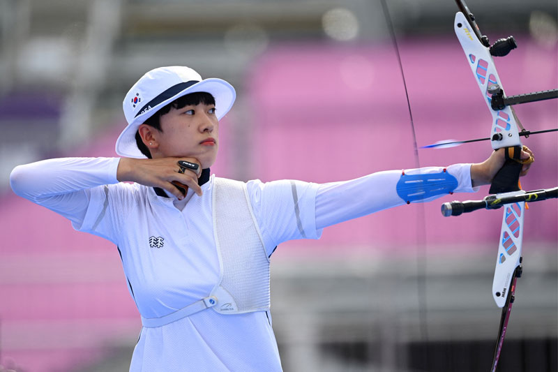 South Korea's An San competes in the women's individual during the Tokyo 2020 Olympic Games at Yumenoshima Park Archery Field in Tokyo on July 30, 2021.photo: AFP