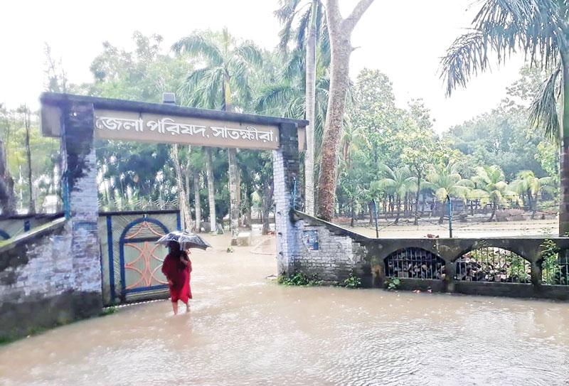 The photo shows Satkhira Zila Parishad inundated due to heavy rain.photo: observer