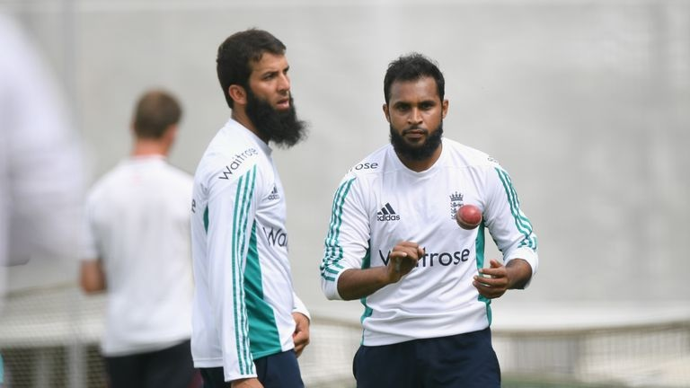 England spinners Adil Rashid (R) and Moeen Ali (L) . collected