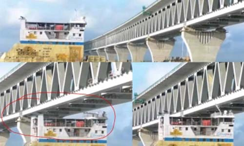Ferry hits Padma Bridge span
