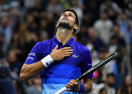 Serbia's Novak Djokovic celebrates his win over the Netherland's Tallon Griekspoor during their 2021 US Open Tennis tournament men's singles second round match at the USTA Billie Jean King National Tennis Center in New York, on September 2, 2021.photo: AFP