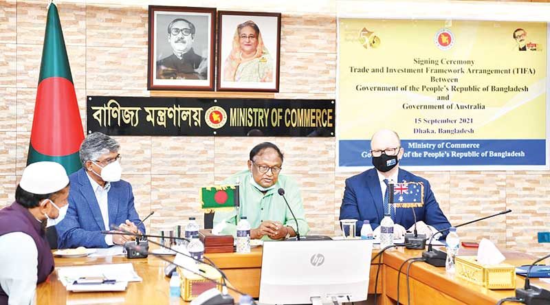 Commerce Minister Tipu Munshi speaking at the signing ceremony of the Trade and Investment Framework Arrangement (TIFA) with Australia at the Commerce Ministry in Dhaka on Wednesday.