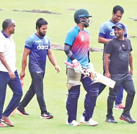 Tamim Iqbal leaving the field after having practice in the nets after a long time on Sunday.